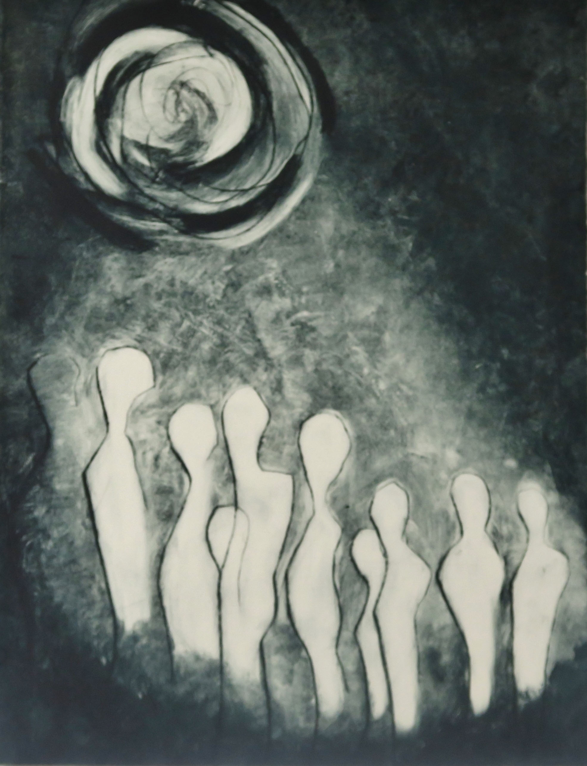 Night Watchers,  Drypoint and carborundum 1/5 Variable edition