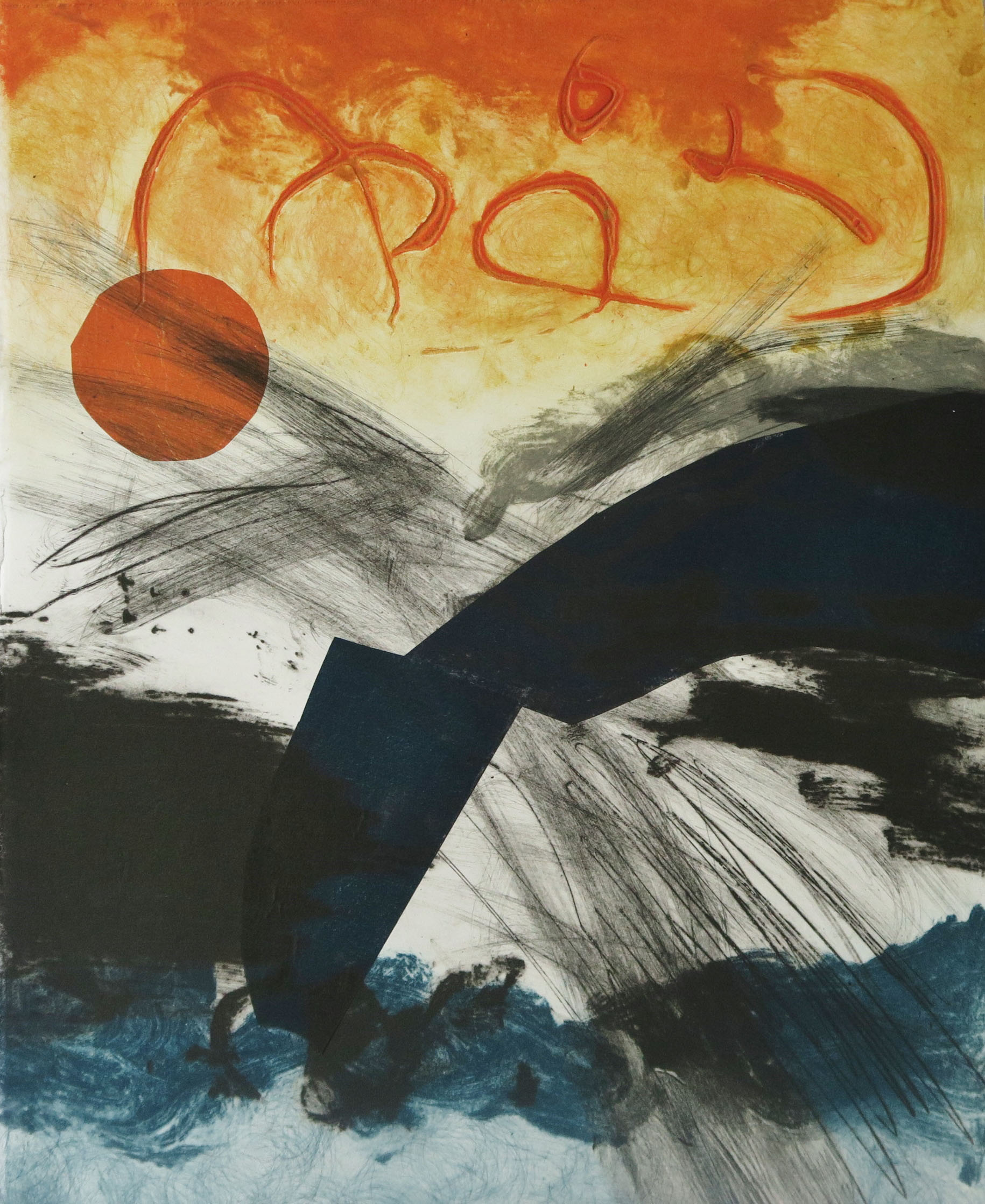 Red Yellow Blue II, Drypoint, carborundum and chine colle, monotype