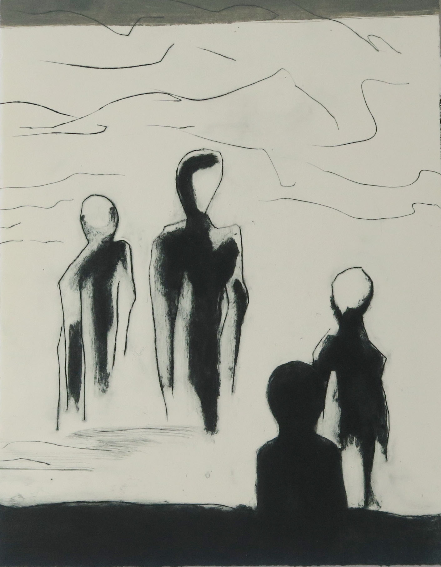 The Watchers,  Drypoint and carborundum 1/5 Variable edition