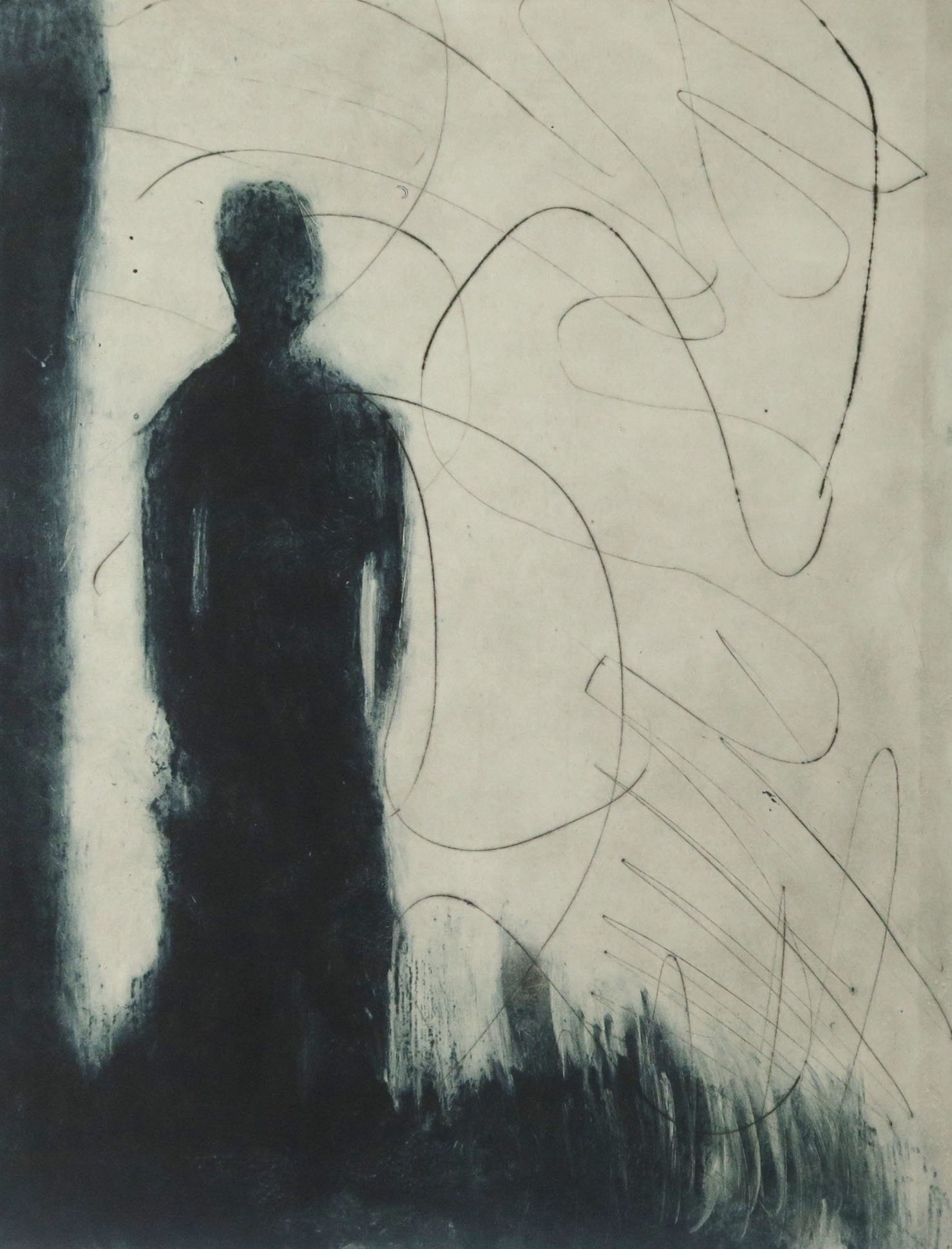 The Watcher,  Drypoint and carborundum 1/5 Variable edition